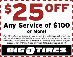 Call Big O Tires >> Big O Tires Oil Change,Service & Alignment Coupons
