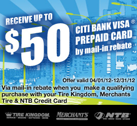 Tire Kingdom Credit Card on Get Up To   50 Citi Bank Visa Prepaid Card By Mail In Rebate Expires